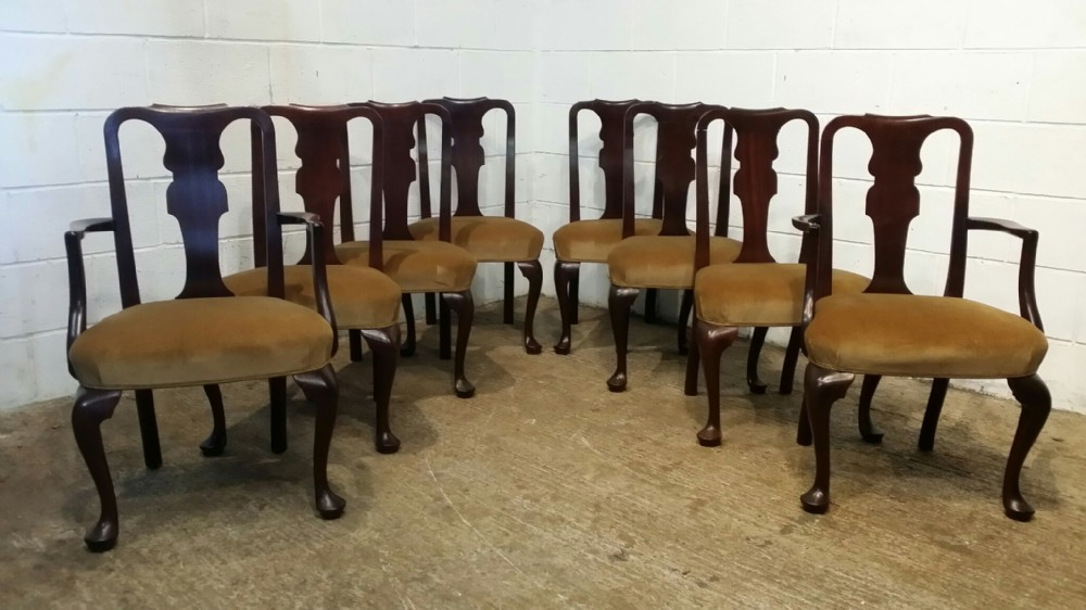 antique edwardian set eight queen anne mahogany dining chairs c1900