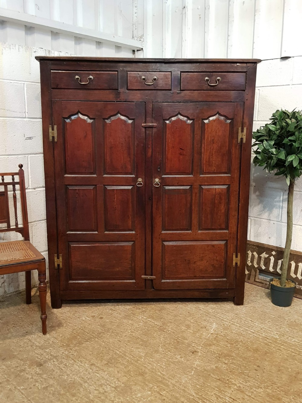 antique georgian period country joined oak cupboard c1740