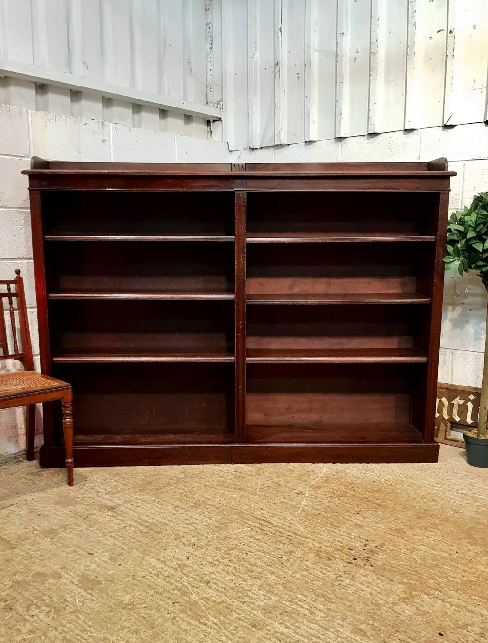 antique victorian oak open bookcase c1880
