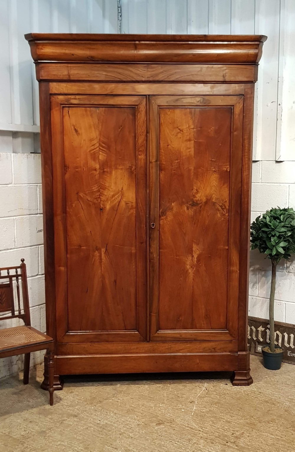 antique large french provincial fruitwood armoire wardrobe with secret drawer c1860