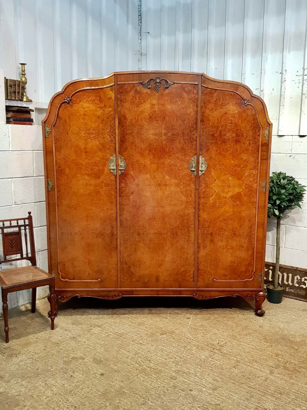 antique queen anne burr walnut triple wardobe c1920