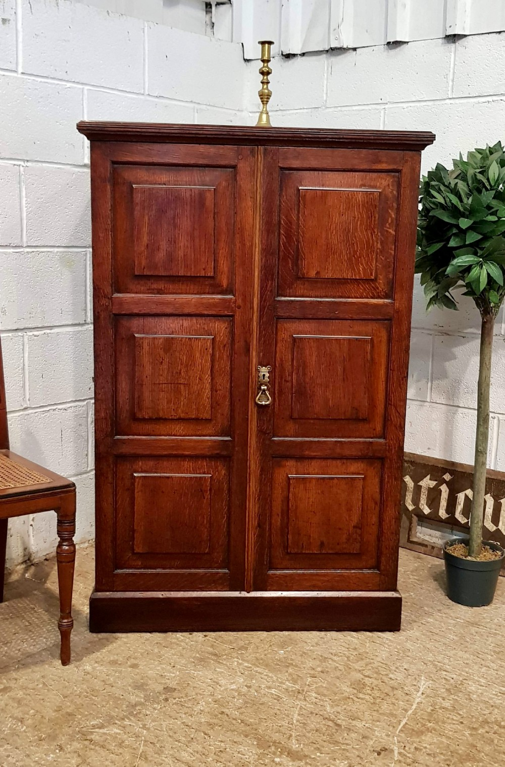 amtique victorian panelled oak cupboard c1880