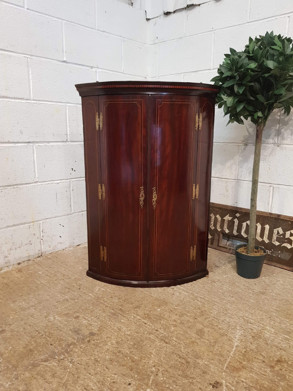antique regency inlaid mahogany bow front corner cupboard c1820