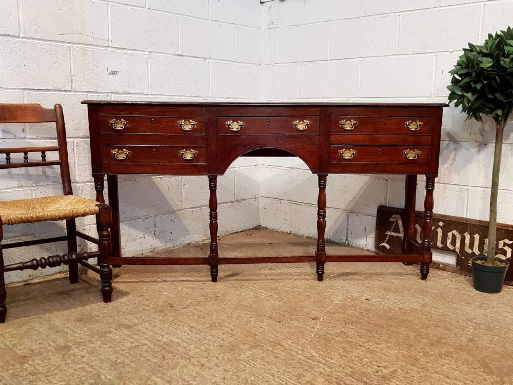 antique 18th century period narrow joined oak dresser base c1780