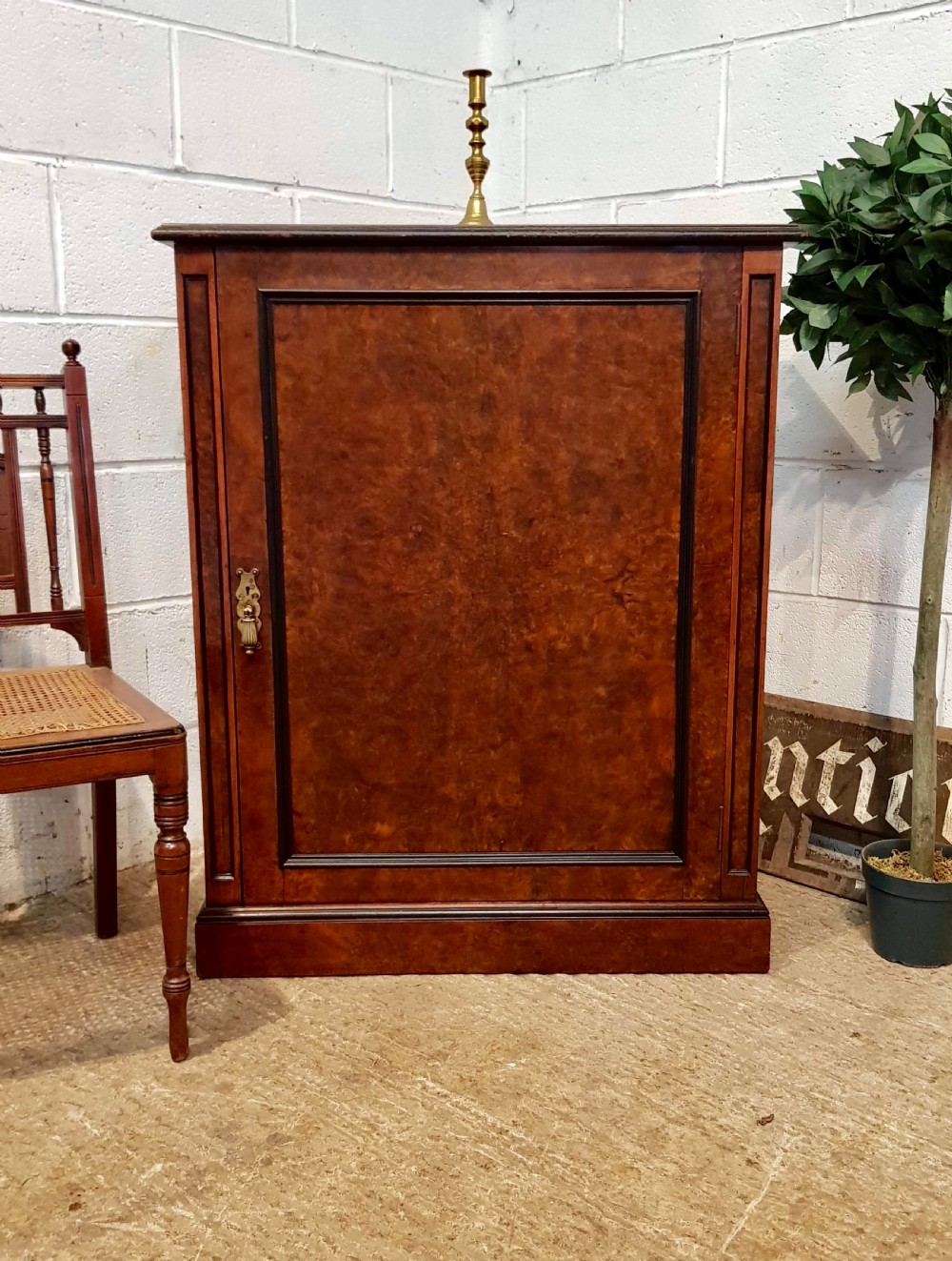 antique victorian burr walnut side cabinet c1860