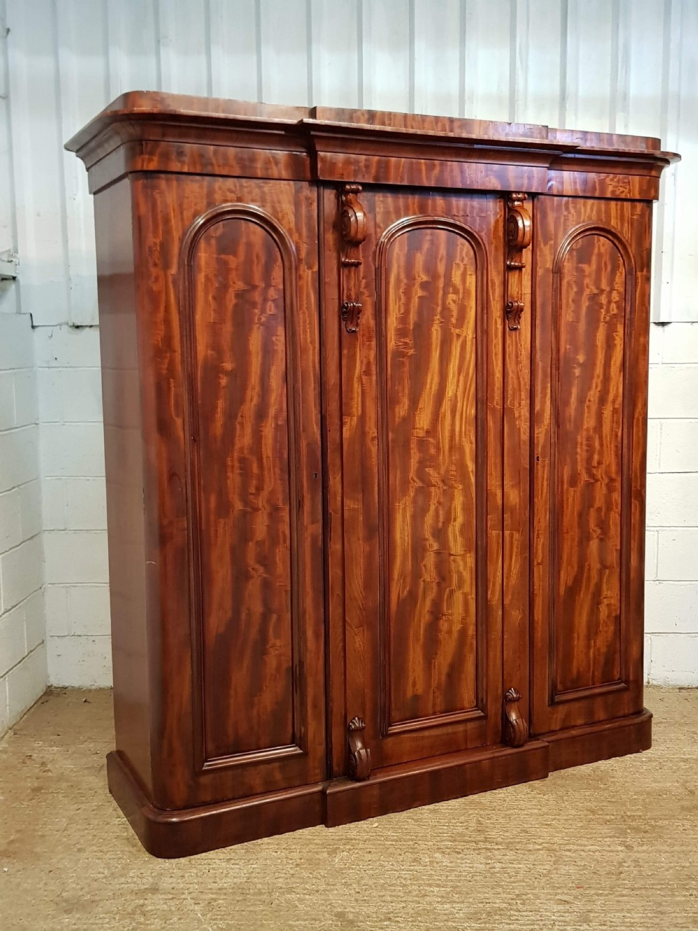 antique victorian flamed mahogany triple wardrobe compactum c1880