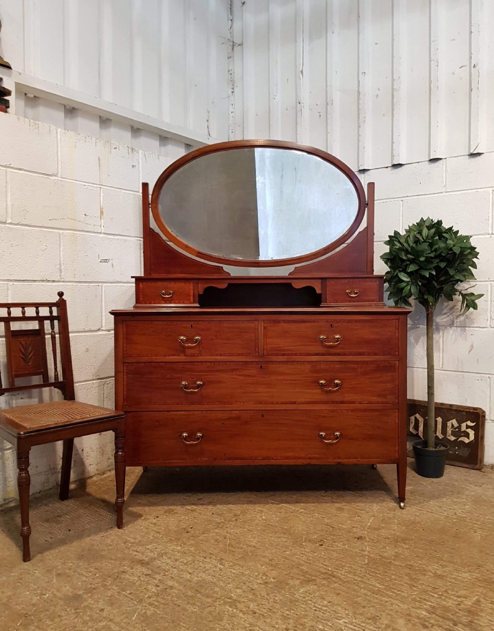 antique edwardian mahogany dressing table chest c1900