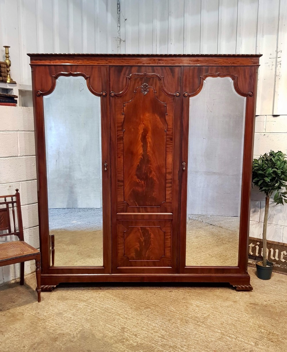 antique victorian flamed magogany triple wardrobe c1890