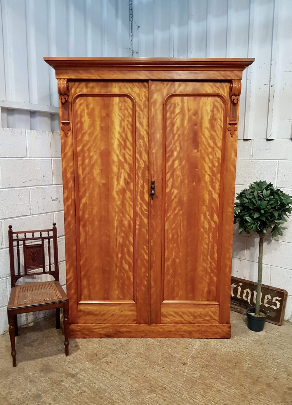 antique victorian satin birch double wardrobe compactum c1880