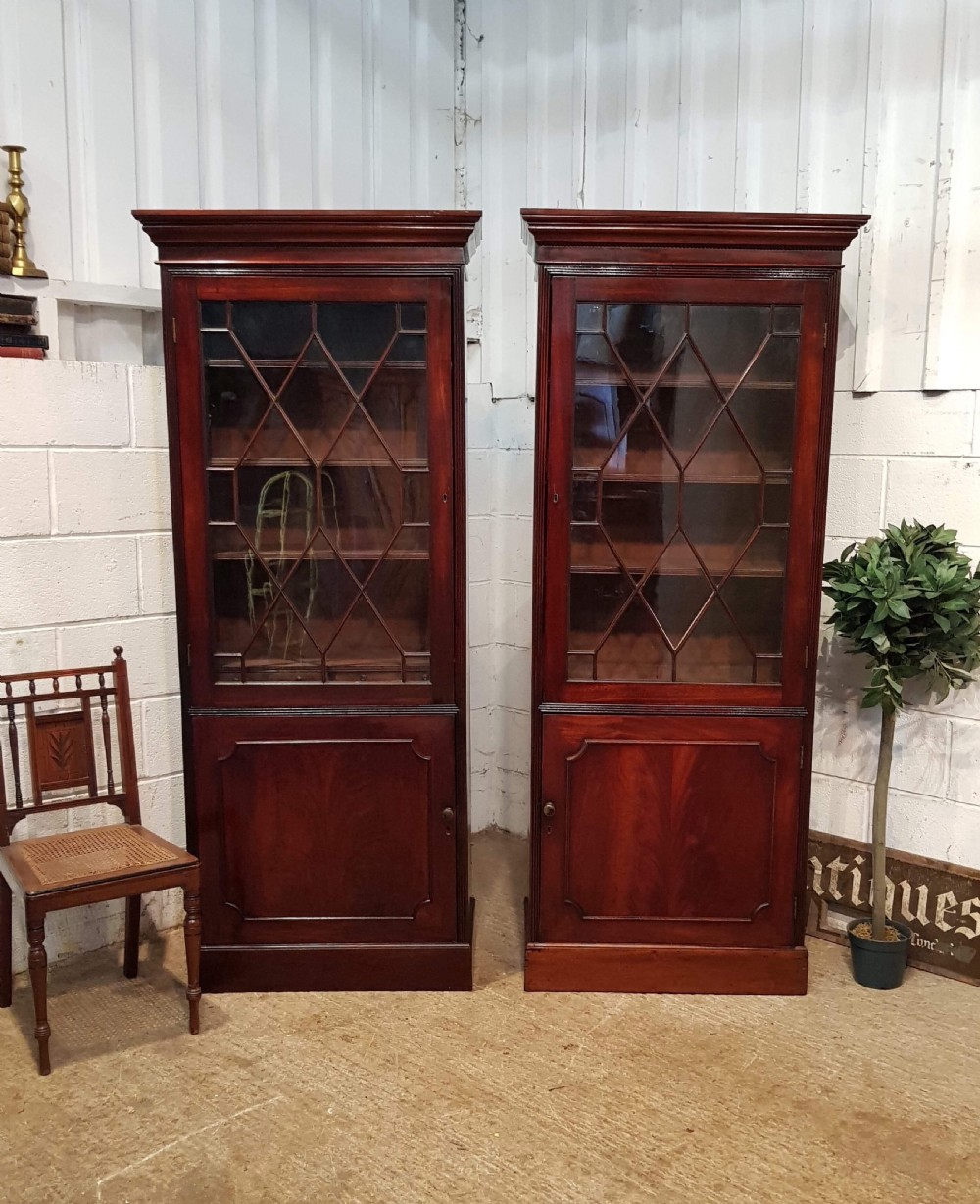 antique pair georgian period mahogany astragal glazed library bookcases c1780