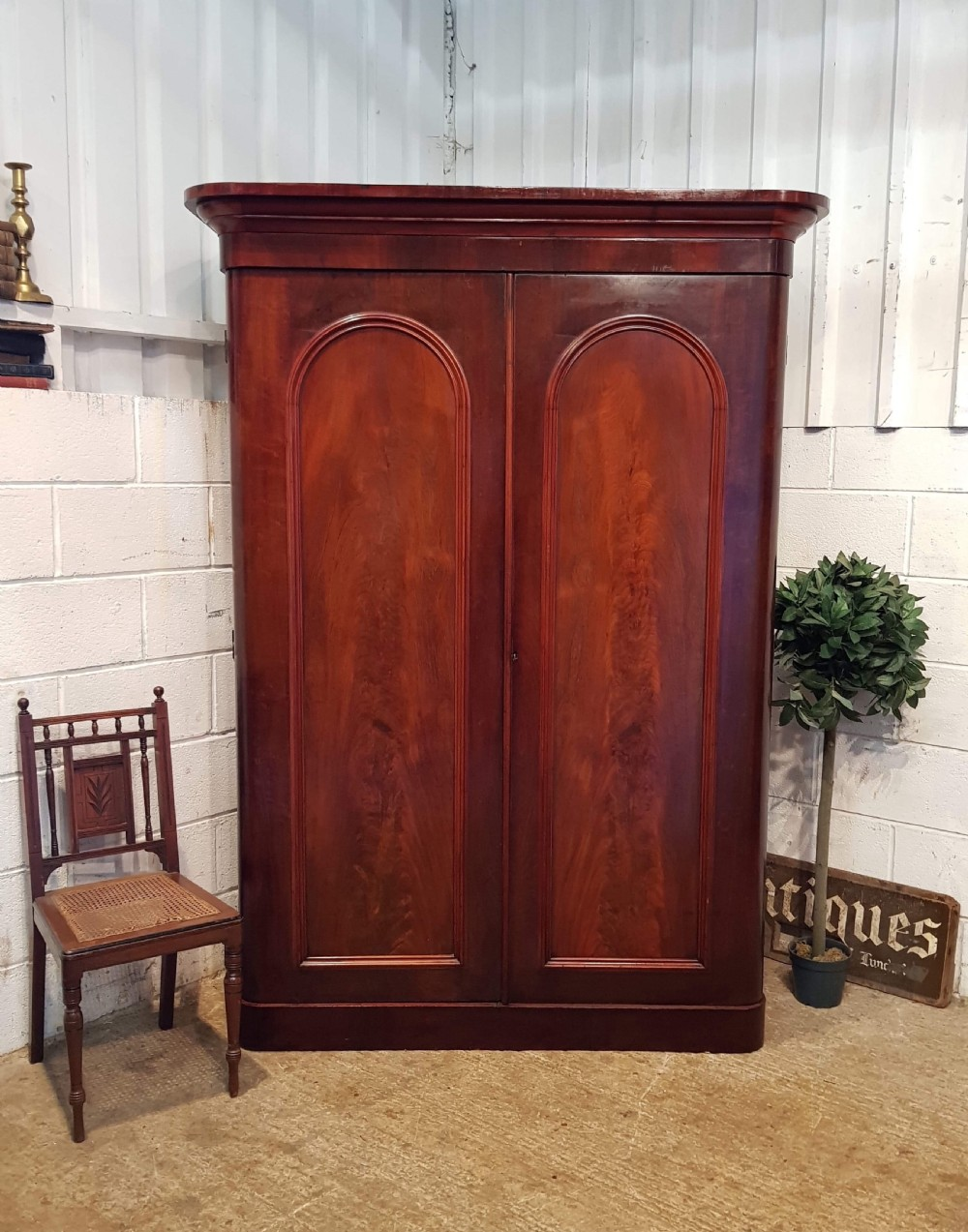 antique victorian mahogany double wardrobe c1880