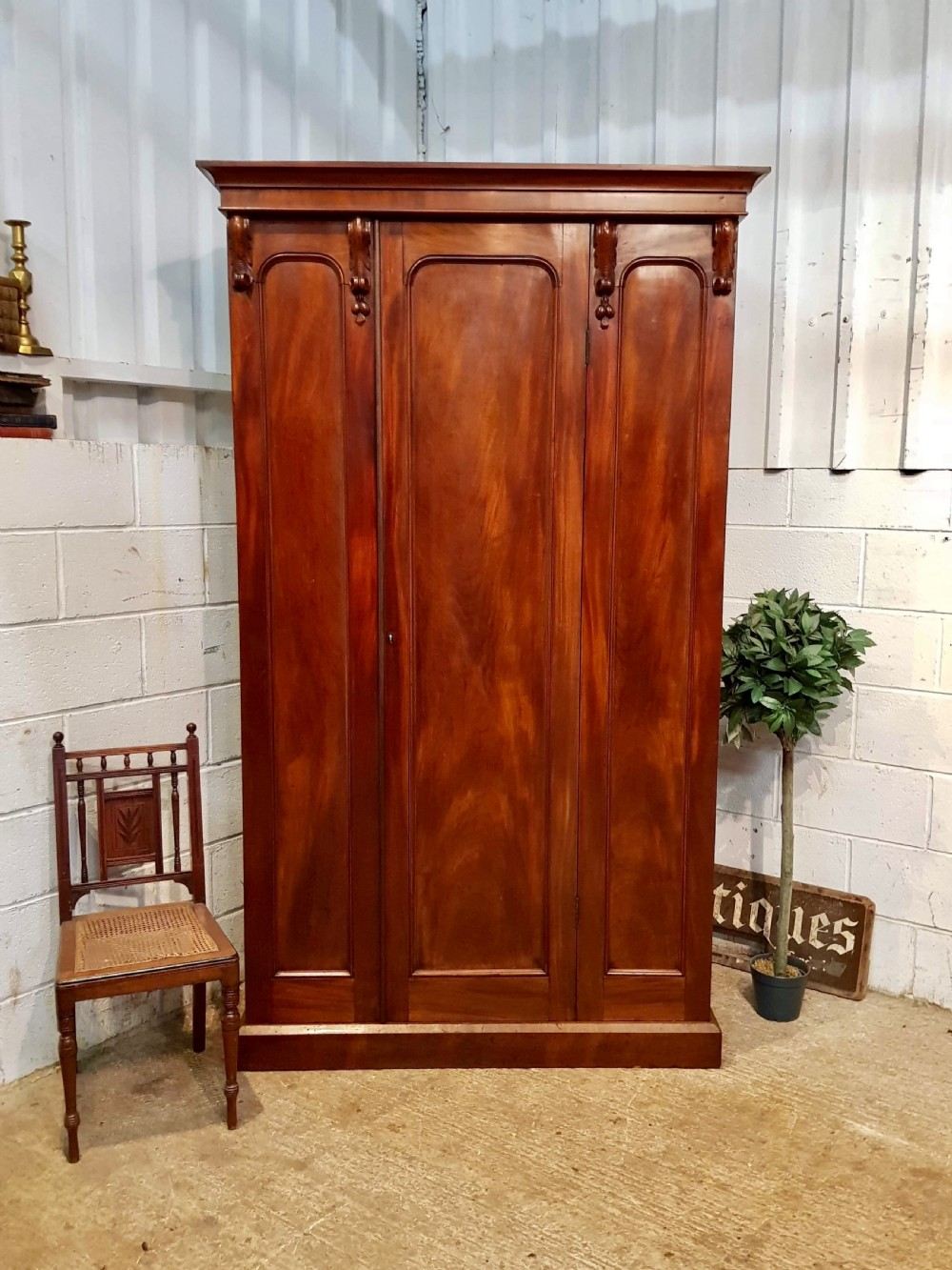 antique victorian mahogany single door wardrobe c1870