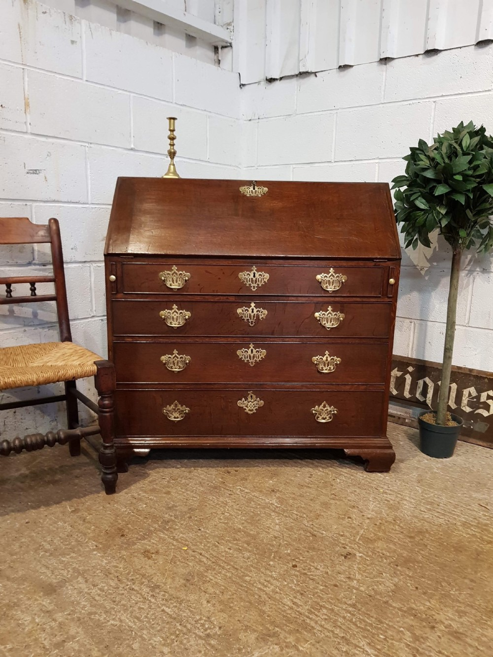 antique georgian period oak bureau c1780