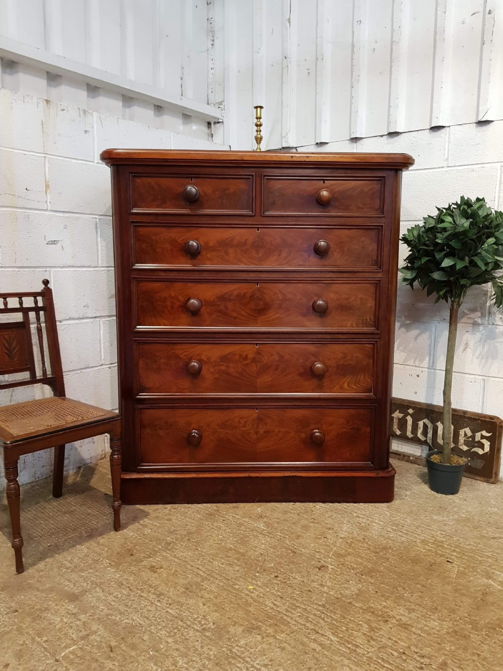 antique victorian tall mahogany chest of drawers c1880