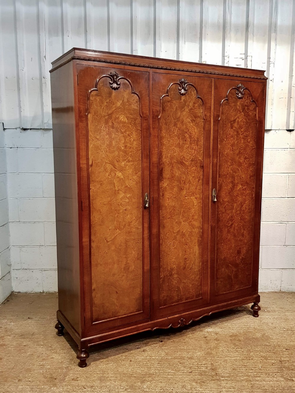 antique burr walnut queen anne triple wardrobe c1920