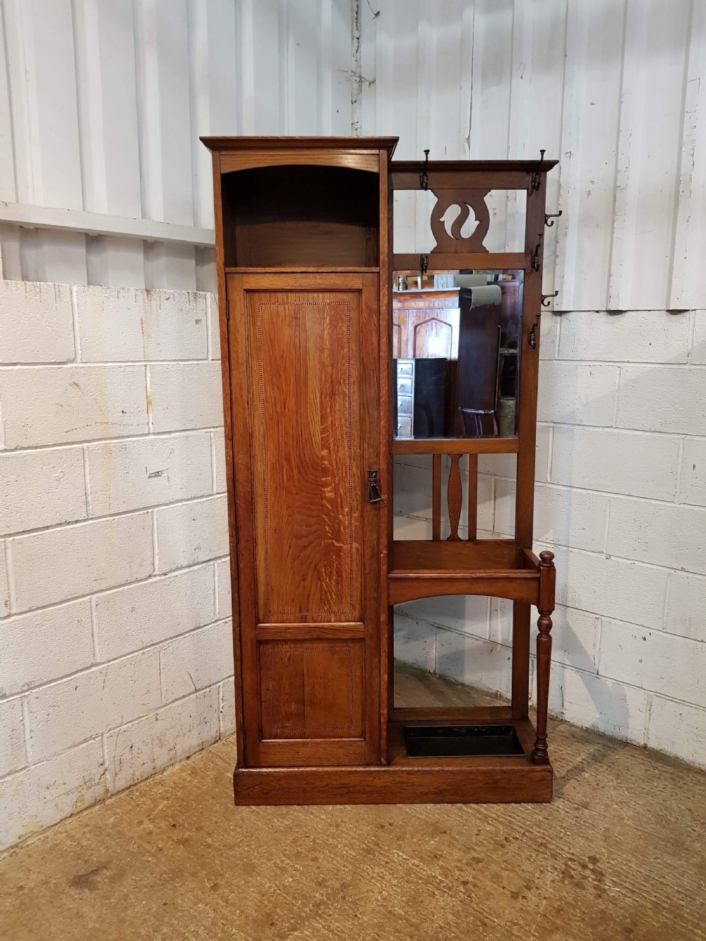 antique arts crafts oak hall stand c1890