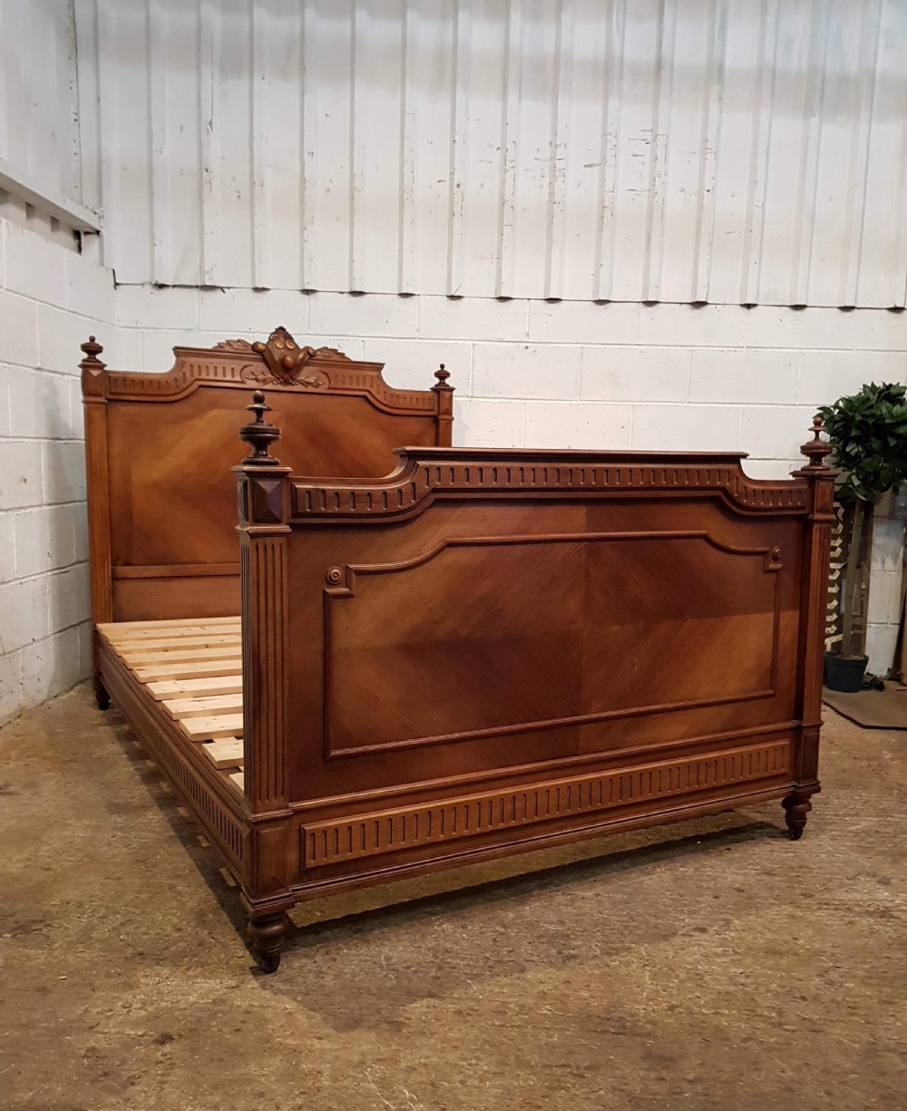 antique 19th century french walnut double bed c1890
