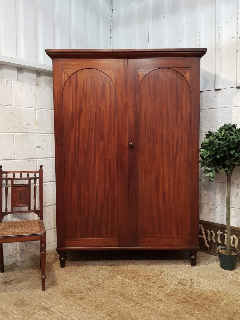 antique victorian mahogany low double wardrobe c1880