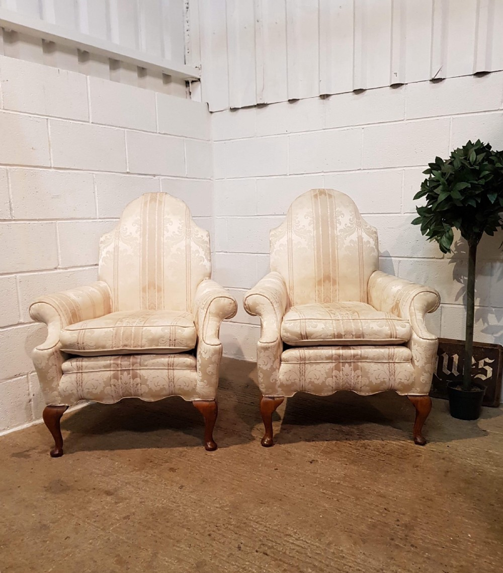 antique pair queen anne style armchairs c1900