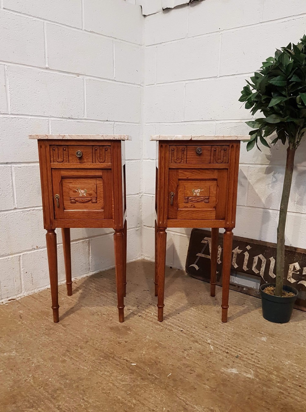 antique pair french medium oak marble topped bedside cabinets c1920