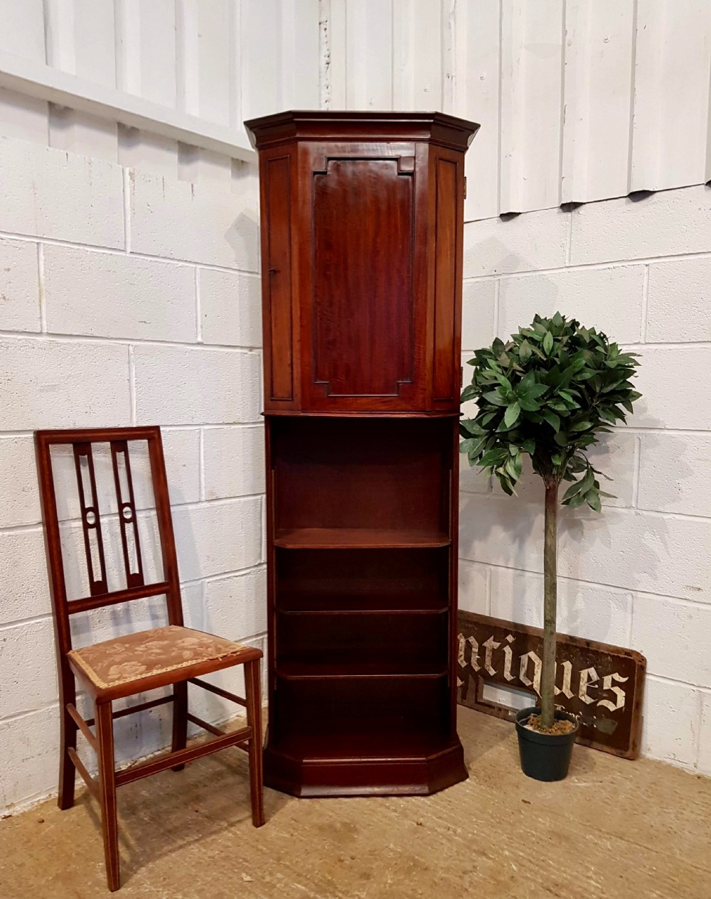 antique edwardian mahogany tall cupboard on bookcase c1900