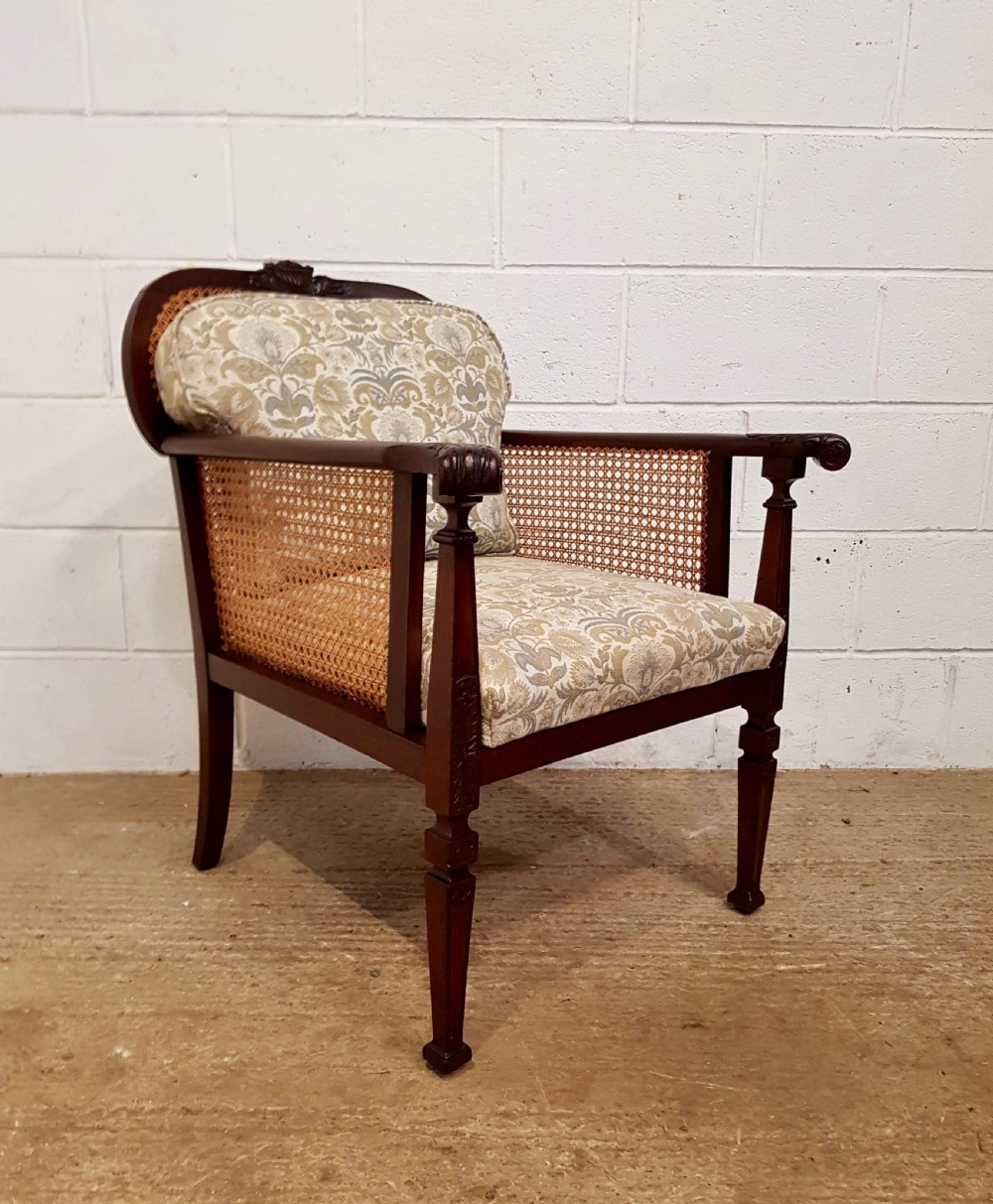 antique edwardian mahogany bergere library chair c1900