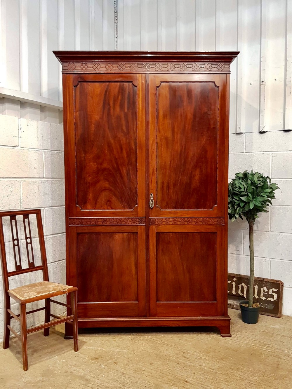 antique edwardian chippendale mahogany double wardrobe c1900