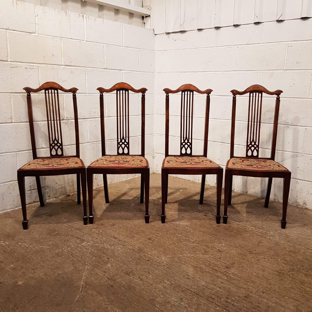 antique set four art nouveau inlaid mahogany dining chairs c1890