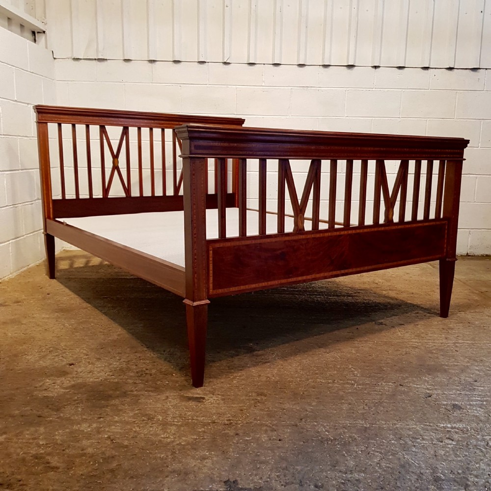antique edwardian regency inlaid mahogany king size bed c1900