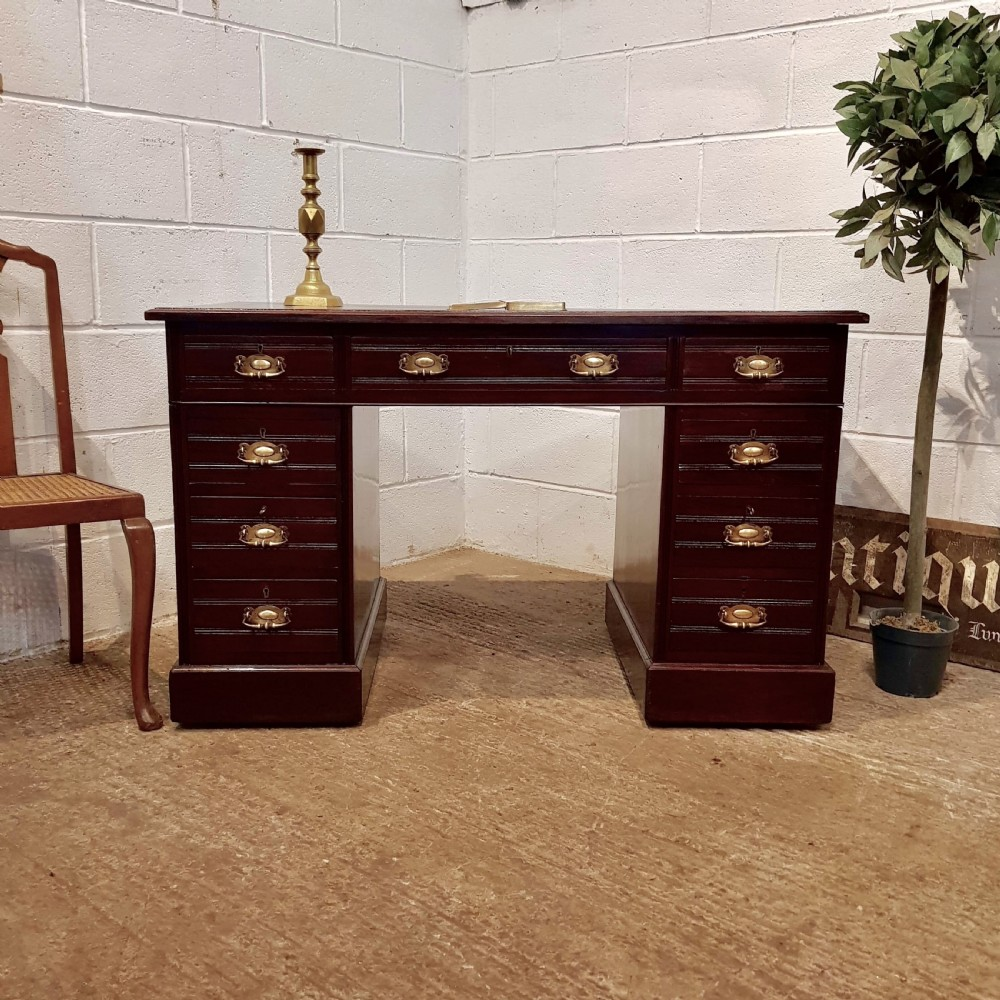 antique late victorian mahogany twin pedestal desk c1890